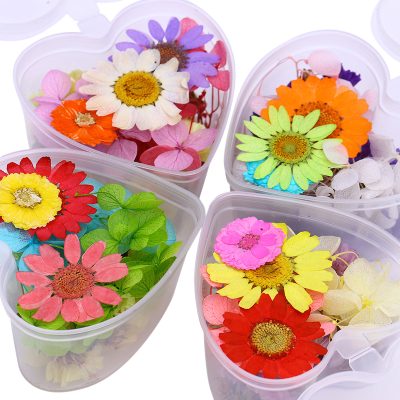 Colorful Dried Flower Preserved Flower With Heart-Shaped Box Manicure 3D Nail Art Decoration for UV Gel Polish DIY 1 Box 0 8mm 20000pcs colorful mini nail art beads gardient rhinestones 3d tip decoration for nail uv gel manicure nail art decorations