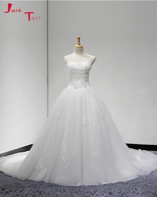 Jark Tozr Vestido De Noiva Beading Bodice Appliques Skirt Bridal Gowns  White Organza Luxury A-line Wedding Dress 2018 Plus Size b1e09b0859b5