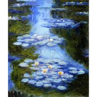 Classic Claude Monet canvas oil painting landscape pictures Water Lilies (blue green) art for home wall decoration