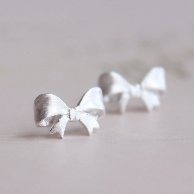 Summer Silver Color  Bow Stud Earrings For Women Brincos Pendientes Girls Gifts