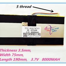 5 нитей лучшая батарея бренд 3575190 3,7 V литий-полимерные батареи 8000mah 3875188 планшет MID встроенный аккумулятор