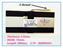 5 thread best battery brand 3575190 3.7V lithium polymer batteries 8000mah tablet MID built-in battery