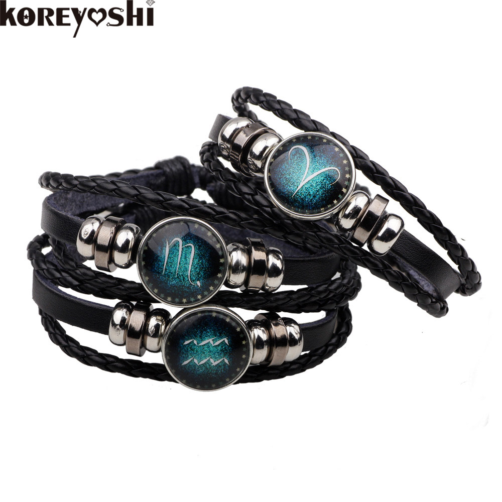 new 12 Constellation Bracelet Men Women handwork Braided Beaded horoscope diy Leather snap Bracelets & Bangles pulseras hombre