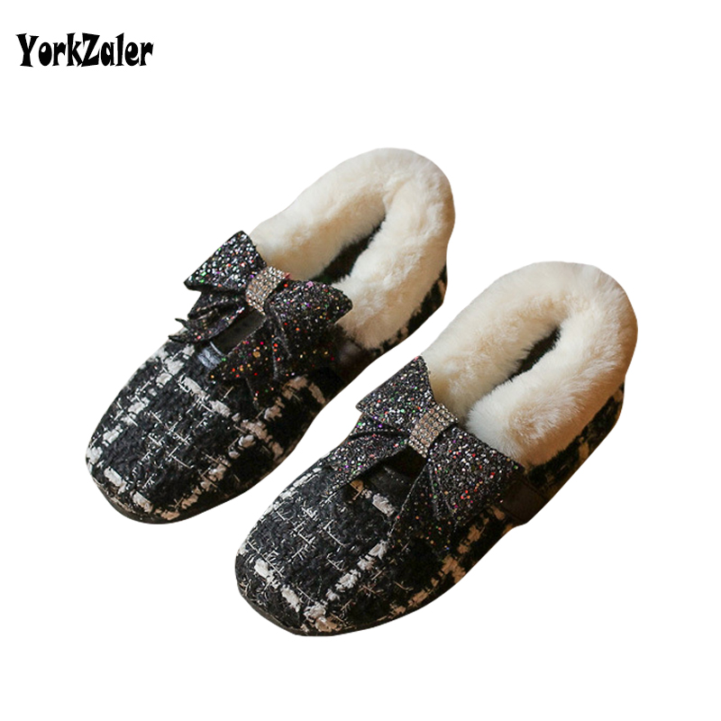 Yorkzaler Kids Shoes For Girl Winter 2017 Geometry Sequins Bowknot Plush Childrens Shoes 18M-7T Todder Baby Flat Warm Shoe