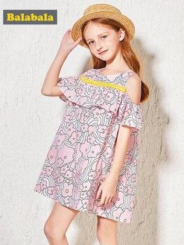 Balabala Girls Open Shoulder Dress with Flounce at Top Teenager Girls Print Dresses Sundress Holiday Beach Summer Dresses Oufits girl