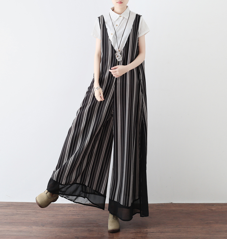 2018 Spring Casual Loose Plus Size Chiffon Cool Jumpsuits Black and White Striped Women Ankle Length Pants Jumpsuits