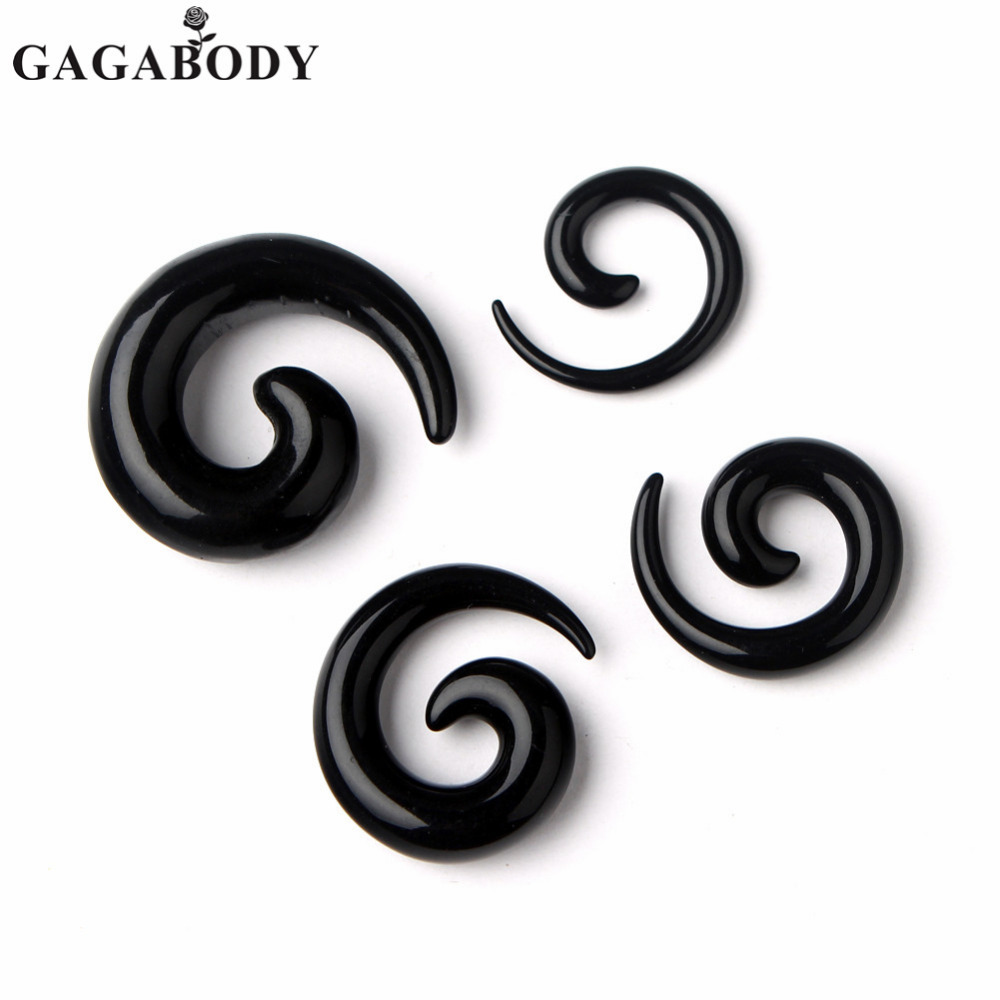 2016 Newest Mens Women Punk Black Acrylic Spiral Shape 4MM/6MM/8MM/10MM Tunnels Ear Plug Piercing 1Piar