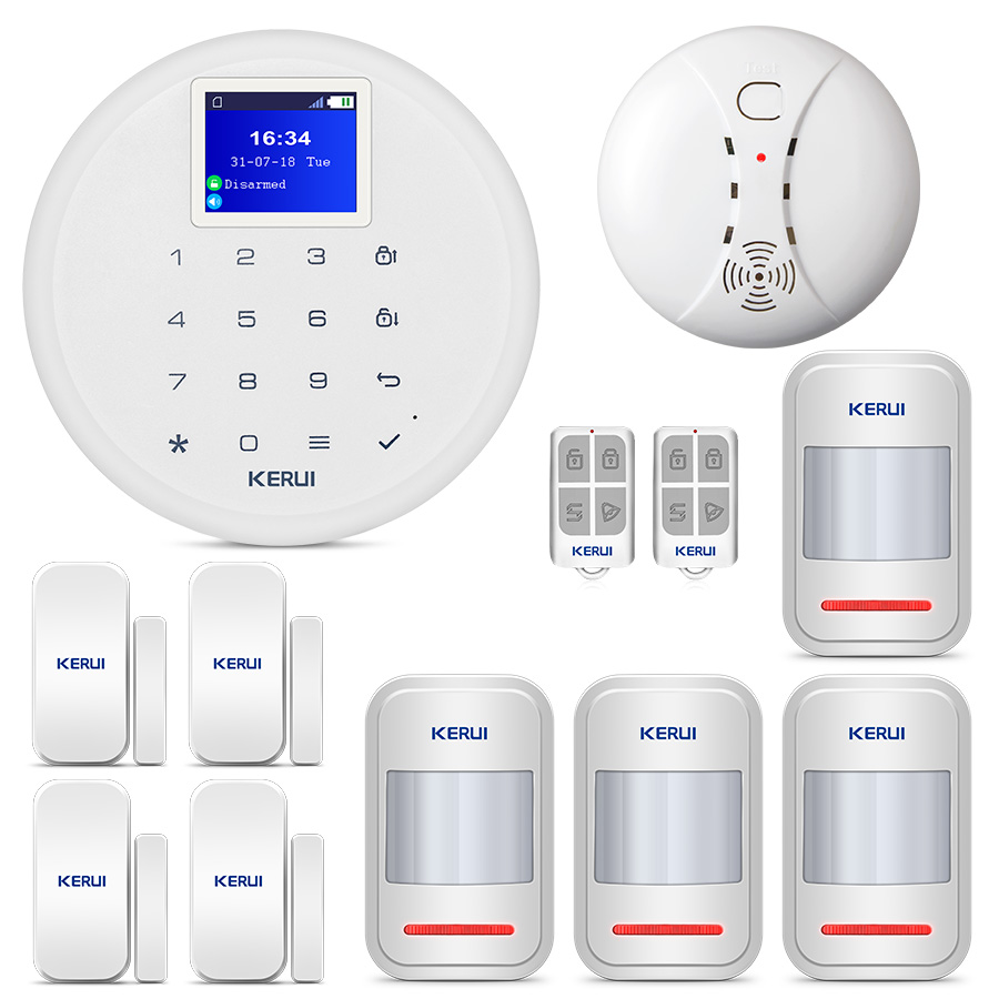 Kerui 8218g Home Alarm Security System 1.7 Inch Tft Touch Screen Gsm Pstn With Motion Smoke Sensor Detector And Wireless Siren Security Alarm Security & Protection