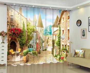 customize window curtain 3d customize Architectural landscape 3D Blackout Curtains 2019 Home Decoration