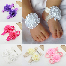 Hot Hot 2Pcs Baby Infant Toddler Girl Ribbon Flowers Barefoot Sandals Sock Toe Shoes 6IK4 7FRF