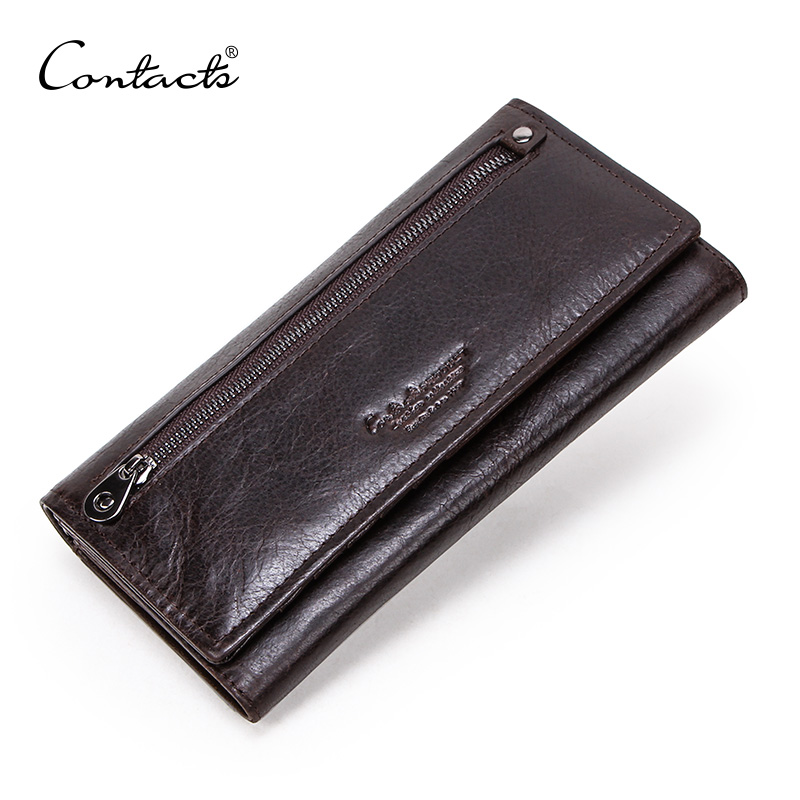 CONTACT'S Genuine Leather Men Long Wallets With Zipper Coin Purse Large Capacity Male Clutch Wallet For IPhone Passport Cartera
