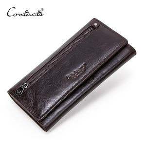 Image 1 - Contacts couro genuíno homem carteiras longas com zíper bolsa de moedas grande capacidade masculino embreagem carteira para iphone passaporte cartera