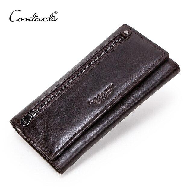 Contacts couro genuíno homem carteiras longas com zíper bolsa de moedas grande capacidade masculino embreagem carteira para iphone passaporte cartera