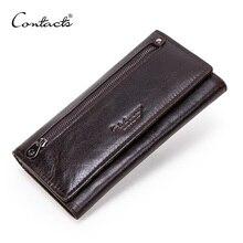 İletİşİm hakiki deri erkek uzun cüzdan fermuar sikke çanta büyük kapasiteli erkek debriyaj cüzdan iPhone pasaport Cartera