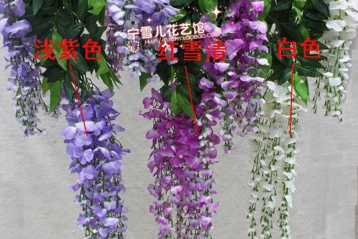 Fleurs de Simulation, fleurs décoratives en plastique ficelle de canne de vigne verte de glycine en gros - 4