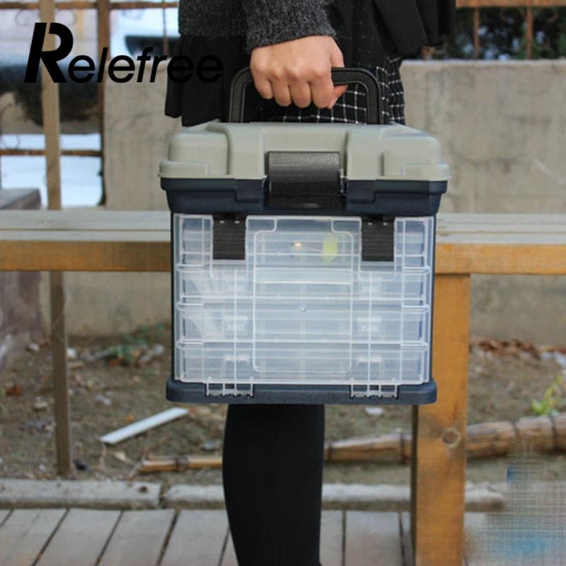 Relefree Portable Outdoor 5 Layer Big Fishing Tackle Tool Storage Box Case with Handle portable 2 layers many compartments visible pvc fishing lure bait hooks fish tackle box accessory storage box case fishing tool