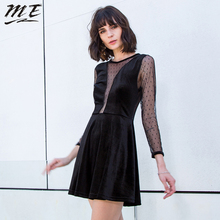 ME 2018 Sexy Velvet Dress Autumn Elegant Long Sleeve See Through Mini Dresses For Women Fashion Casual Black Lace Party Vestidos