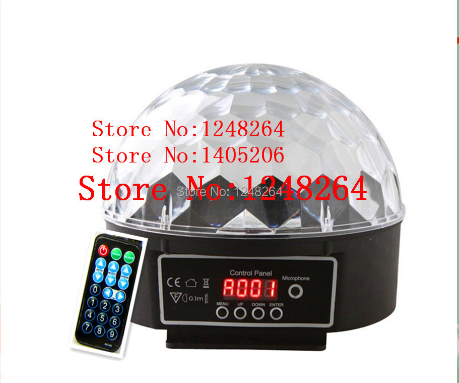 Mini 18W LED Stage Light RGB 6 kinds of Color Crystal Magic Ball Effect Lamp DMX 512 Control Panel Disco DJ with Remote Control