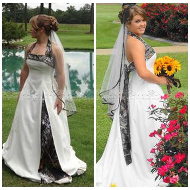 Halter A Line Countryside Camo Camouflage Wedding Dresses Real Tree