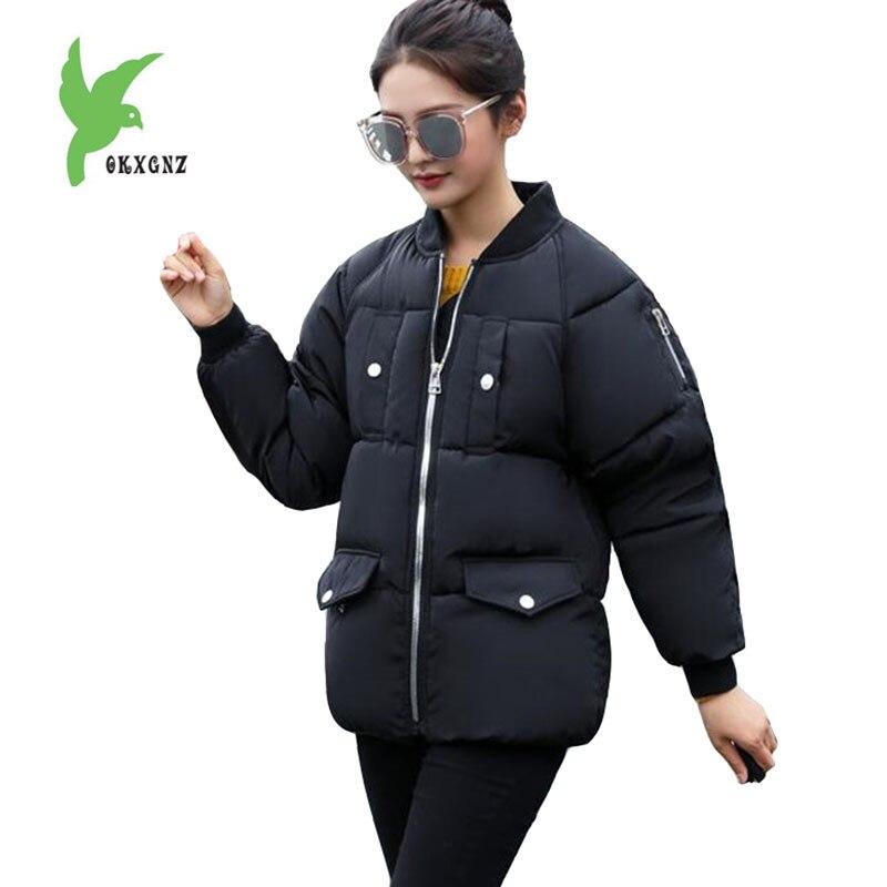 f0653076 2018 parkas de Invierno para mujer Chaqueta corta de algodón grueso para  estudiante ropa de abrigo cuello alto talla grande abrigo femenino tops  básicos ...