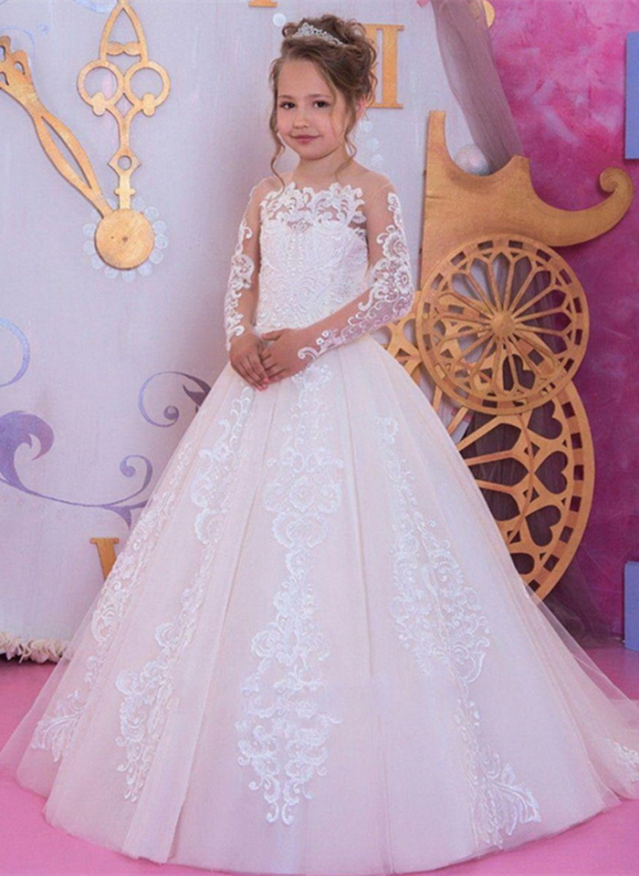 Romantic white Lace applique Long sleeve Flower Girl Dress for Weddings Girl Tulle Communion Pageant Dress
