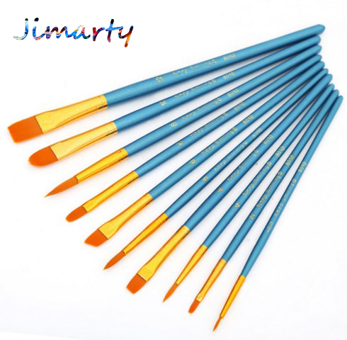 10Pcs/Set Kids Student Watercolor Gouache Painting Pen Nylon Hair Wooden Handle Paint Brush Set Drawing Art Supplies