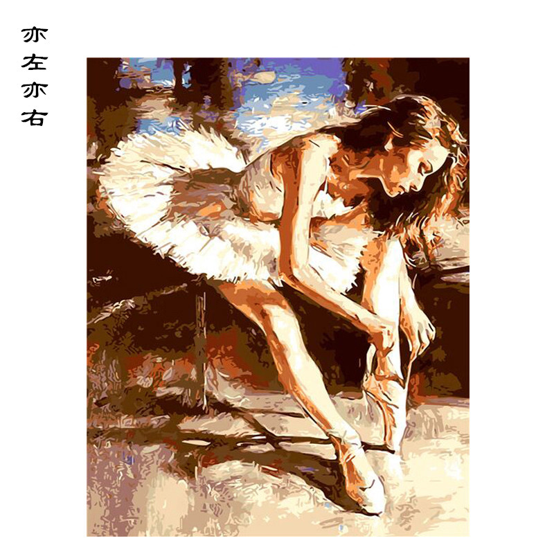 Ballet Dancer Tying Shoela Figure DIY Digital Painting By Numbers Modern Wall Art Canvas Painting Unique Gift Home Decor 40x50cm