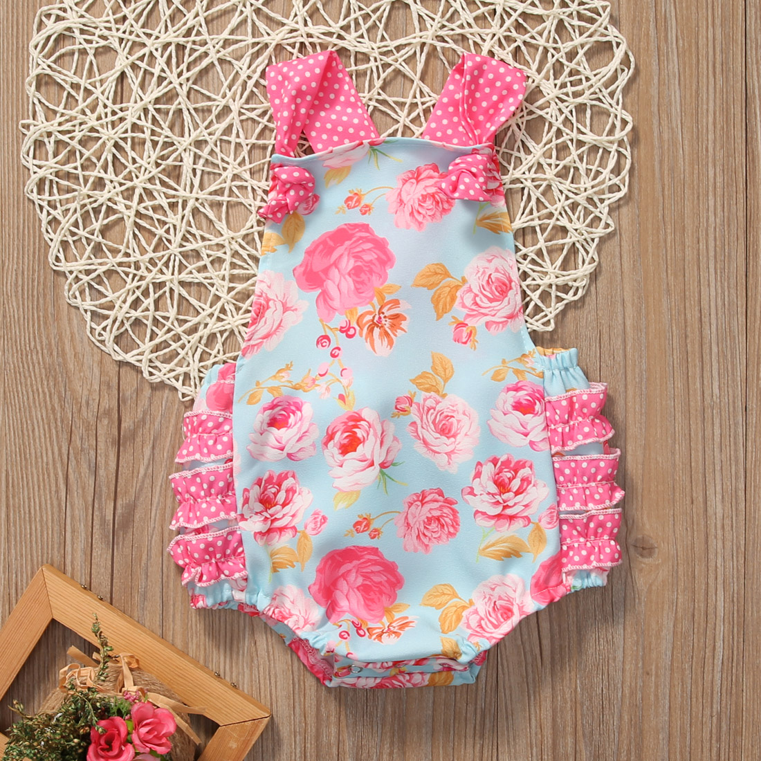 a80b6d0b13a Floral Baby Halter Romper Newborn Infant Baby Girls Clothes Summer  Sleeveless Ruffles Jumpsuit One Pieces Outfits Sunsuit 0 18M-in Rompers  from Mother ...