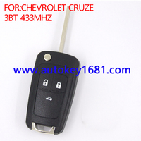 Car Key Remote Key fit for Chevrolet Cruz Flip remote key 3 buttons 433mhz with circuit board pcb