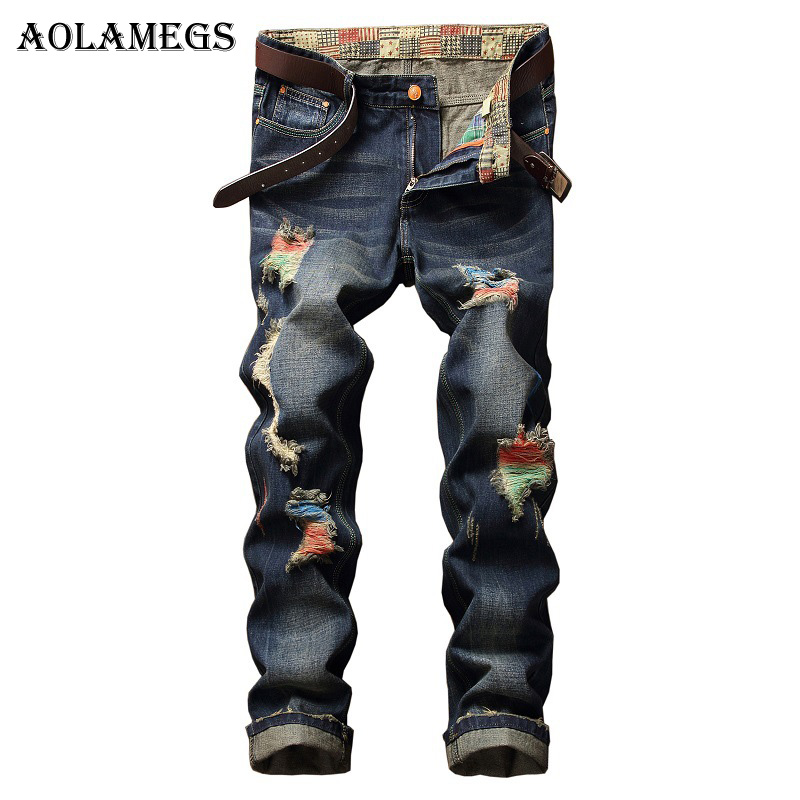 Aolamegs Men Jeans Pants Colors Hole Paint Solid Full Length High Street Crest Elastic L ...