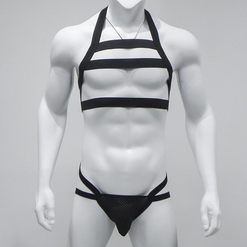 Sexy Men Nylon Bondage Men Underwear G String Halter Neck Body Chest Harness Men Lingerie Set Gay Underwear Night Club Wear