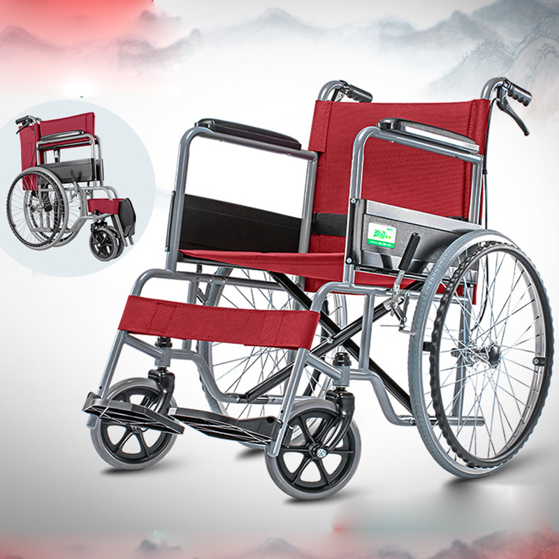 Portable Cofoe Yidong Wheelchair Folding Trolley Travel Scooter with Hand Brake for Old People the Aged the Disabled Multi Color portable cofoe yishu wheelchair full back rest folding galvanized steel scooter with pedestal pan for the aged 2018 newest