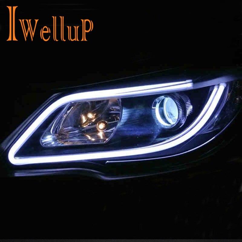 2PC/Lot 30cm 45cm 60cm DRL Flexible <font><b>LED</b></font> Tube <font><b>Strip</b></font> Daytime Running Lights Turn Signal Angel Eyes Turn Signals External Light