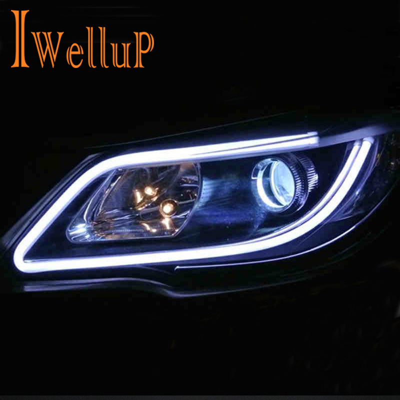2PC/Lot 30cm 45cm <font><b>60cm</b></font> DRL Flexible <font><b>LED</b></font> Tube Strip Daytime Running Lights Turn Signal Angel Eyes Turn Signals External Light