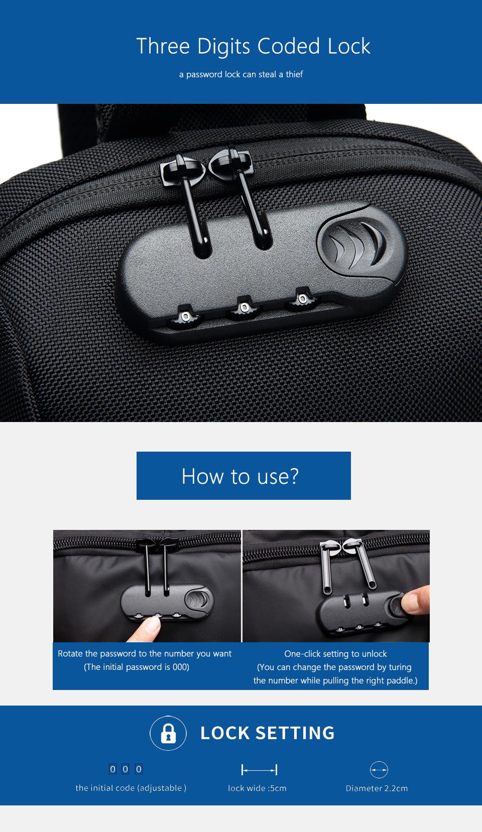 OZUKO 2019 New Multifunction Crossbody Bag for Men Anti-theft Shoulder Messenger Bags Male Waterproof Short Trip Chest Bag Pack 4