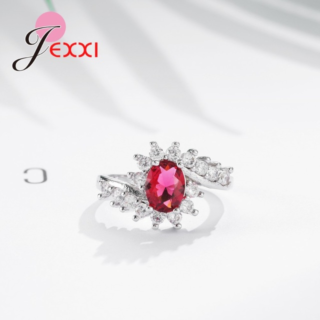 Fashion Ripple 925 Sterling Silver Europe  America New Drop Shape Crystal Zircon Ring Jewelry Small Crystal 5