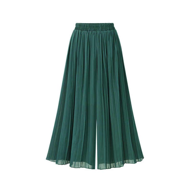2018 ฤดูร้อนบางจีบขากว้างกางเกงหญิงกางเกงพลัสขนาดกว้างขากางเกงตรงสบายๆตัด