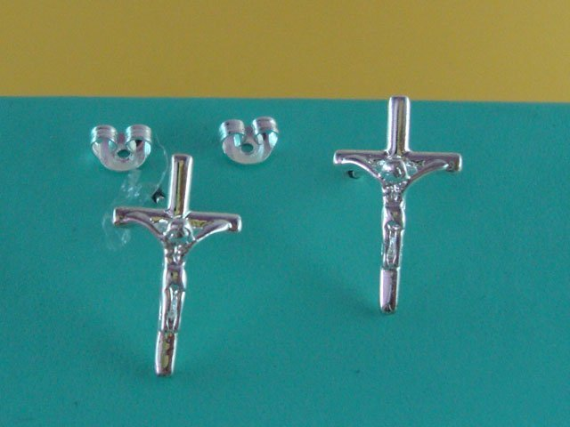 Free Shipping Wholesale 925 Silver Charm Cross Fashion Earring E217805