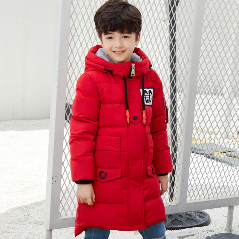 New Fashion Children's Winter Coat Long Down Jackets Parkas Teenagers Thick Warm Zipper Hooded Outerwear Kids Patchwork Jackets 2016 new men thick warm parkas outerwear fashion stand collar zipper casual down jacket male plaid patchwork winter coat a4583