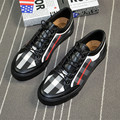 new 2017men lace up canvas shoes plaid print flat casual shoes business shoes size 39-44