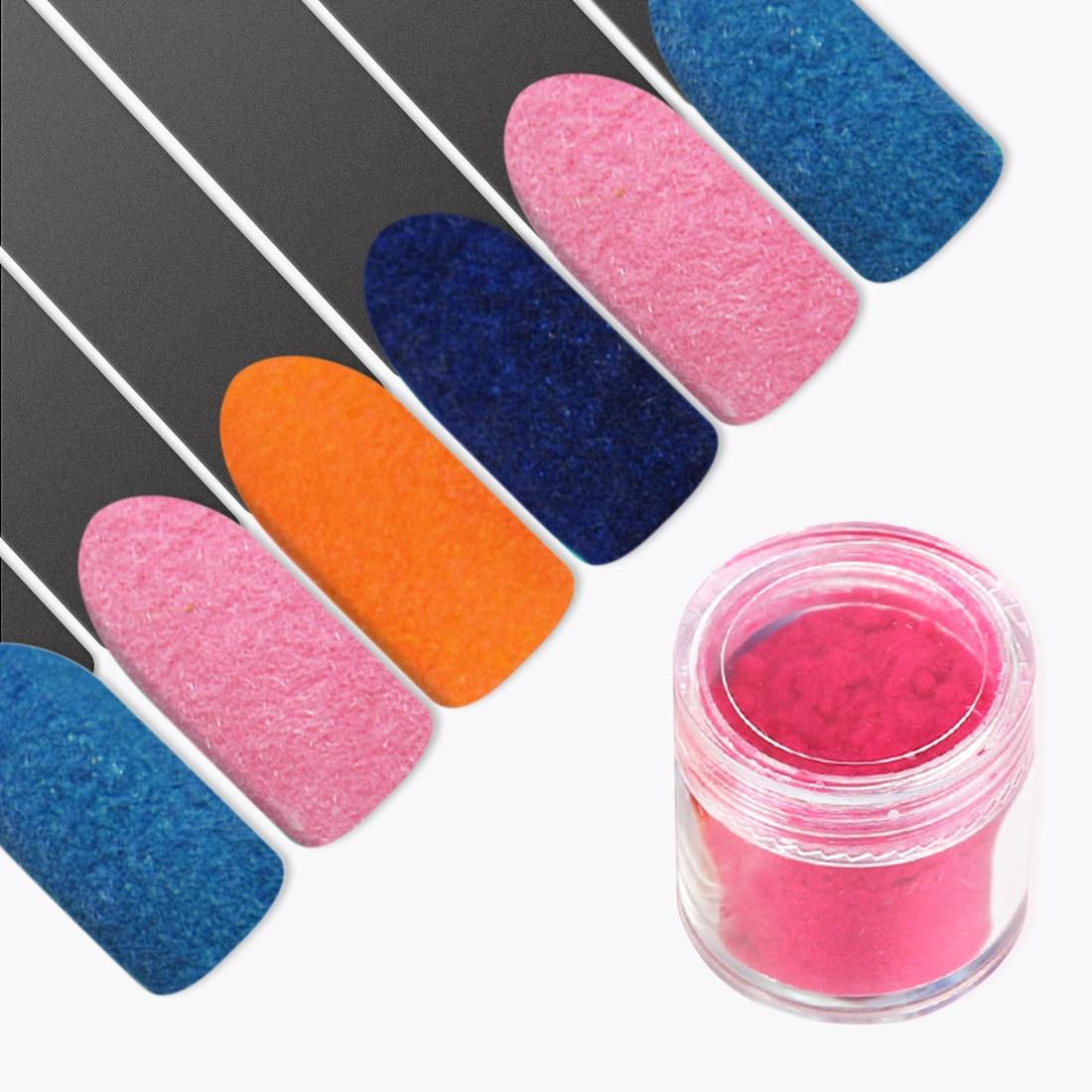 14 Colors Fuzzy Flocking Velvet Nail Glitter Powder Wine Colorful ...