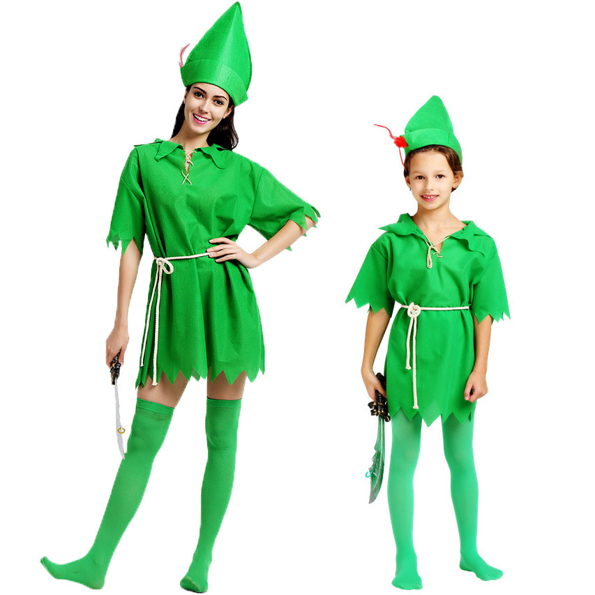 Learned Umorden Peter Pan Costume Child Kids Boys Girls Peter Pan Costumes For Women Men St. Patricks Day Cosplay With Stockings
