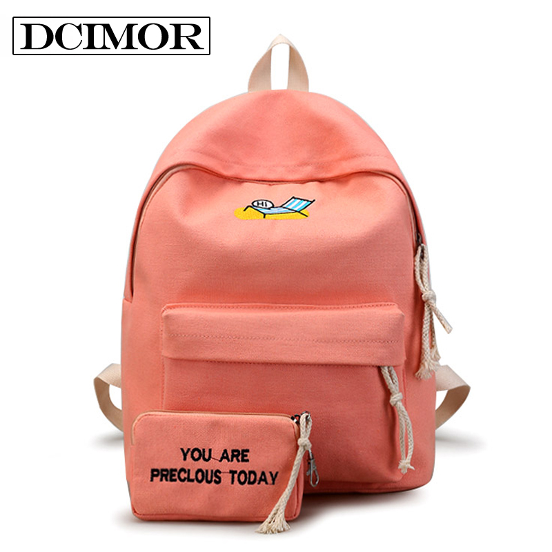 Dcimor Canvas Backpack Women School Bag For Teenagers Girls Preppy Style Composite Bags Embroidered Backpack Book Bag Mochila