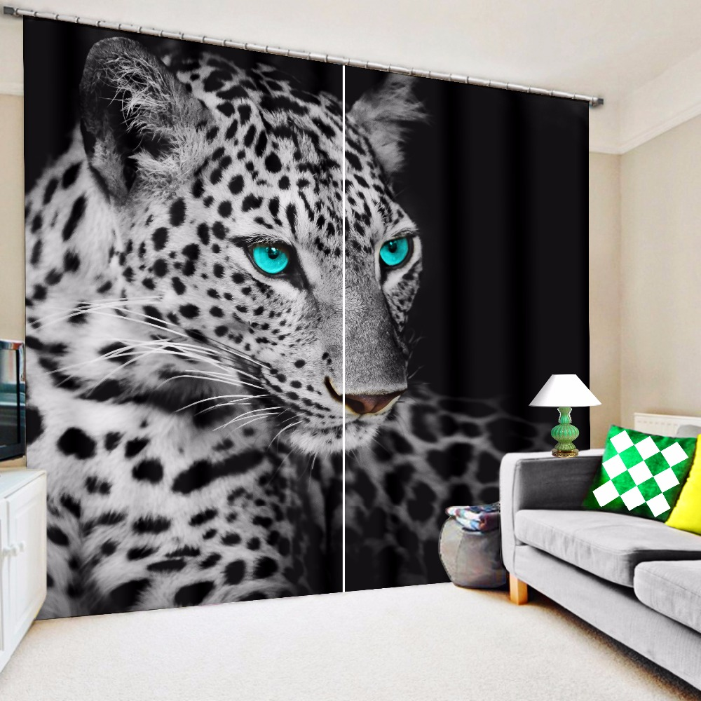Purple cheetah print curtains - 3d Leopard Blue Eyes Print Custom Design Curtain Fabric Digital Printing 3d Curtains Living Room Drapes