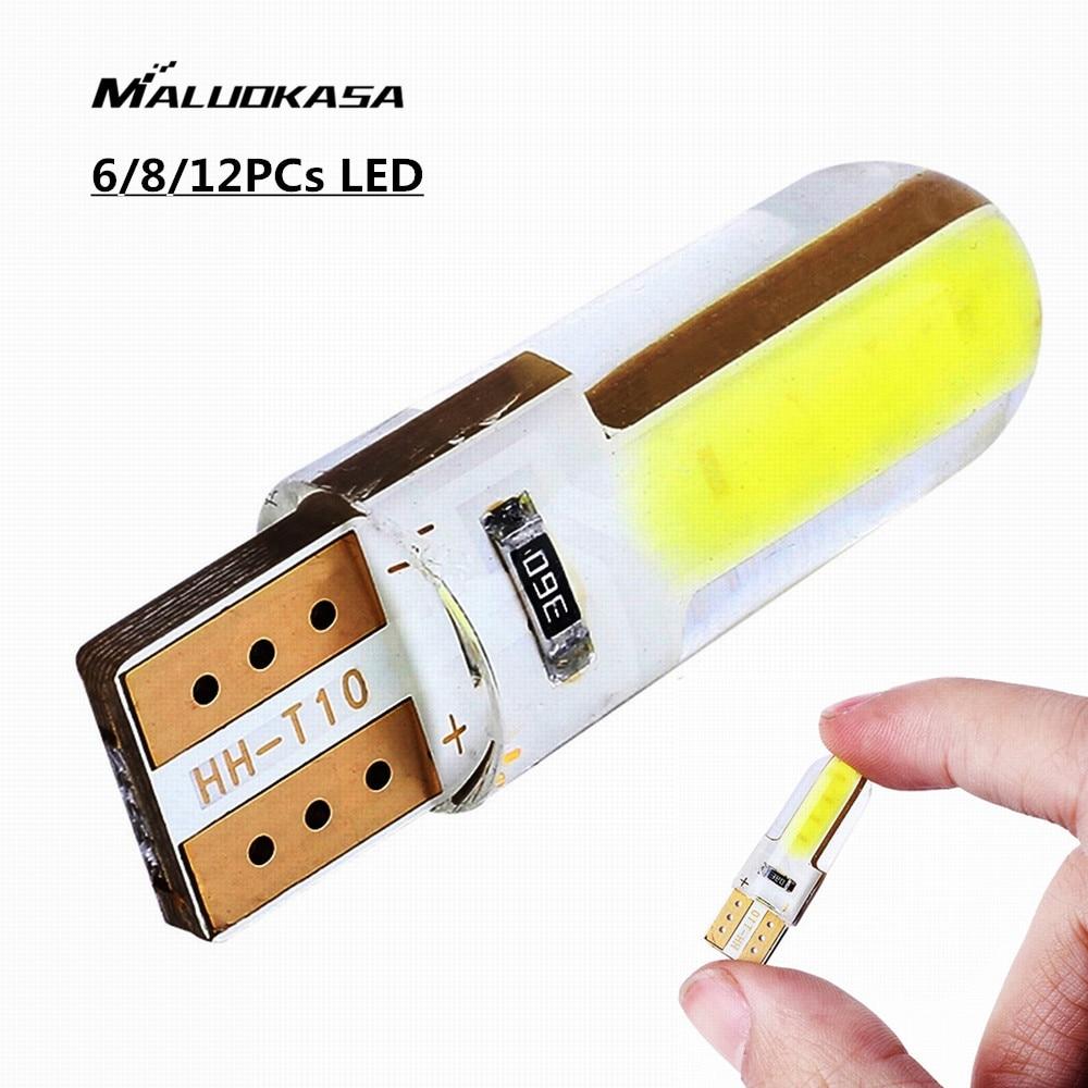 MALUOKASA 6/8/12PCs 12V T10 W5W LED 750 COB Light Bulbs 1W 300LM 6000K-6500K White Car Parking Light Automobiles Signal Lamp ba9s 1w w ba9s 1w 90lm 6500k white light 1 led car dashboard lamp dc 12v 2 pcs