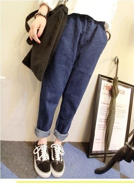 Elastic Waist Jeans for Women Denim Jeans 2017 Spring Autumn Loose Haren Pants Long Jeans Femme Blue Skinny Denim Pants Trousers