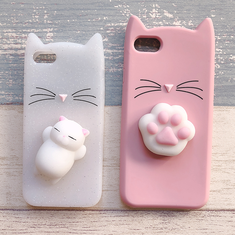 3D Cute Japan Glitter Bearded Cat Case For iphone 5 5S SE X Squishy Cat Cases For iphone 7 8 6 6S Plus Silicone Mobile Phone Bag (10)