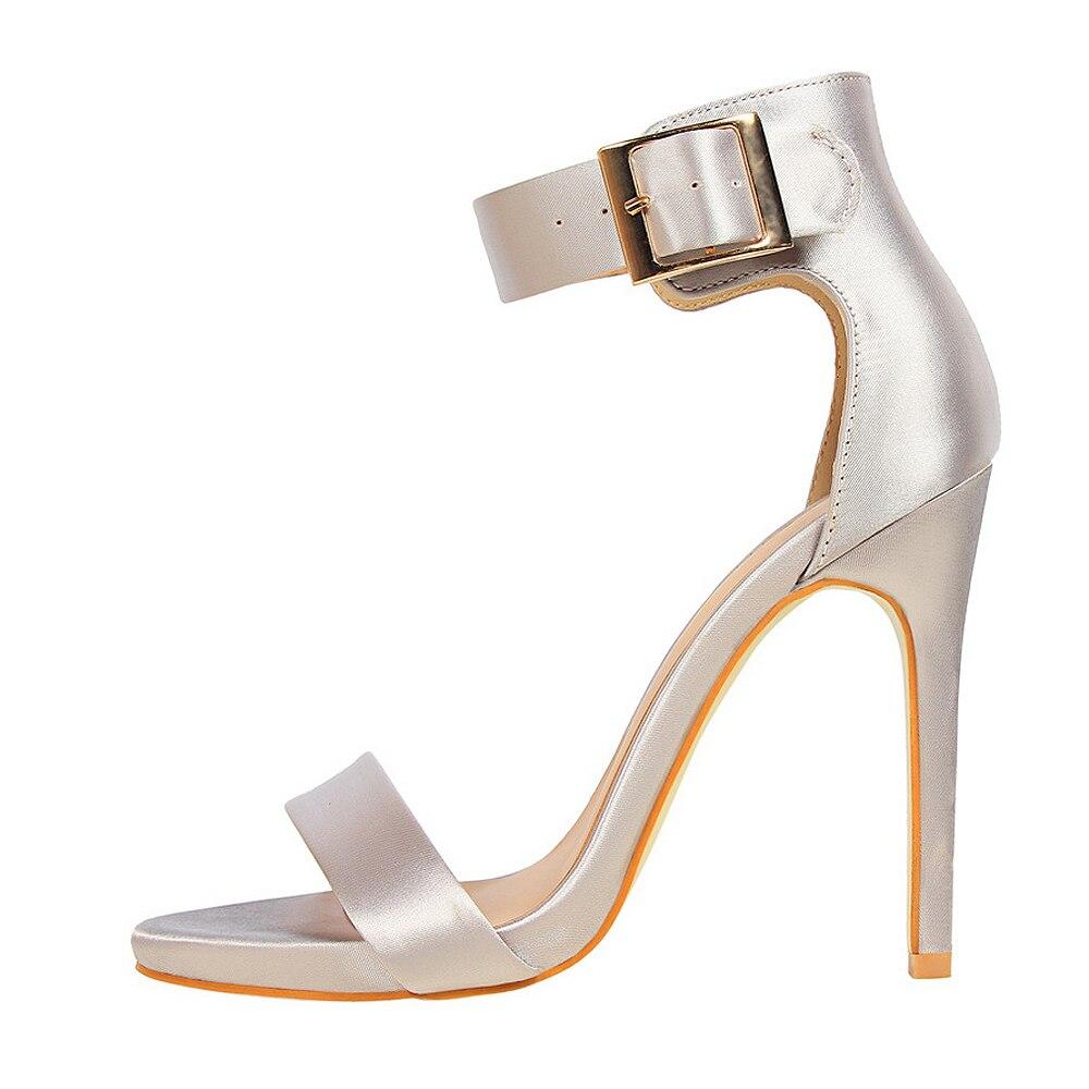 Plus Size 43 Women Classic Satin 11cm High Heels Fetish Silk Sandals Female Gladiator Summer Cheap Shoes Lady Green Sexy Pumps