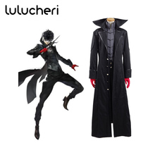 Anime Persona 5 Hero Cosplay Costume Joker Halloween Party Full Set Akira Kurusu Uomini Vestiti di Nero Giacca Lunga Trench e Impermeabili Tuta Sportiva