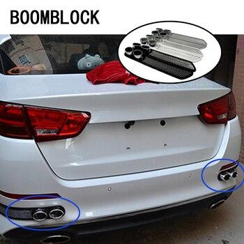 BOOMBLOCK 2 unids/set coche 3D fresco carbono tubo de escape pegatinas para Peugeot 307 206 Jeep Ford Focus 2 3 VW Polo Golf 4 5 7 Touran T5